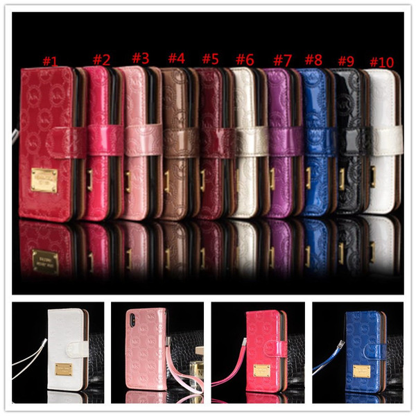 Luxury Wallet Flip PU Leather Case for iphone x 7 8 6 6s plus Card Slot Cases with Lanyard Holder Cover Classic Letter Patern Phone Case New