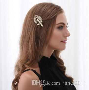 Hollow Leaf Hair Clamp Gold Tone Girls/Ladies Hair Barrettes Clip Metal Hairpin Hair Clip Clamps