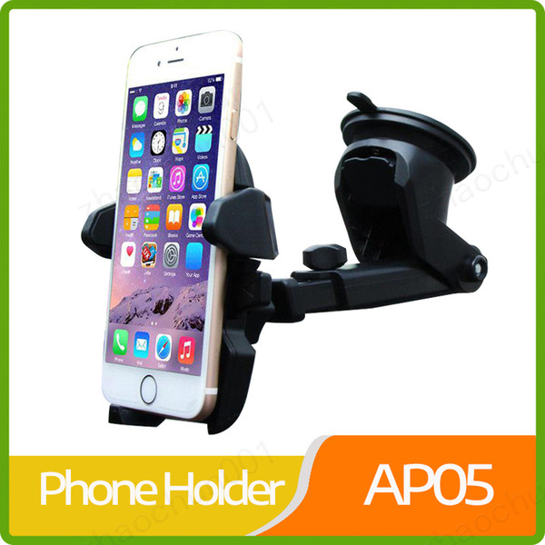 Car Windshield Dashboard Phone Holder Universal Cell Phone Holders Soporte de succión Soporte retráctil Rotación de 360 ​​grados para iPhone X Samsung
