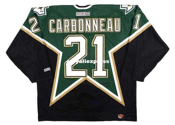 custom Mens GUY CARBONNEAU Dallas Stars 1999 CCM Jerseys Away Cheap Retro Hockey Jersey