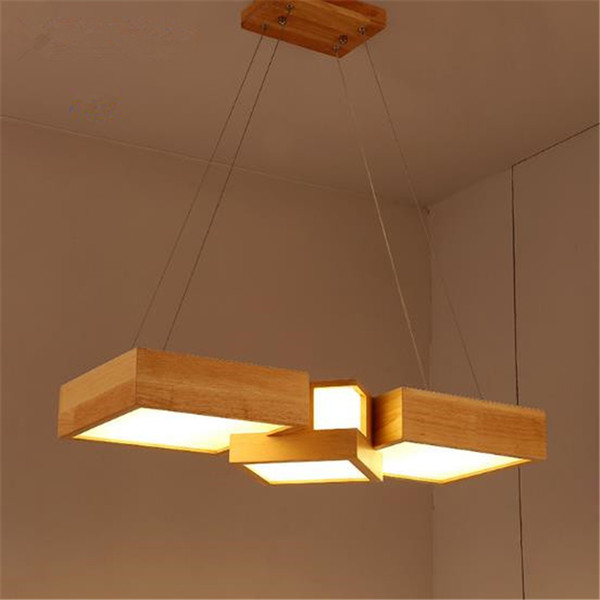 Modern Janpanese Style Wooden Led Chandelier Rectangular Wood Lights Fixtures For Living Room Dining Room Contemporary Ceiling Lights Ceiling Light