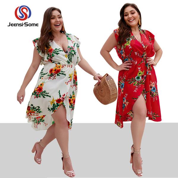 4b948ec7961 Чешские платья больших размеров Модное пляжное платье Женщины Праздничное  платье с цветочным принтом с коротким рукавом