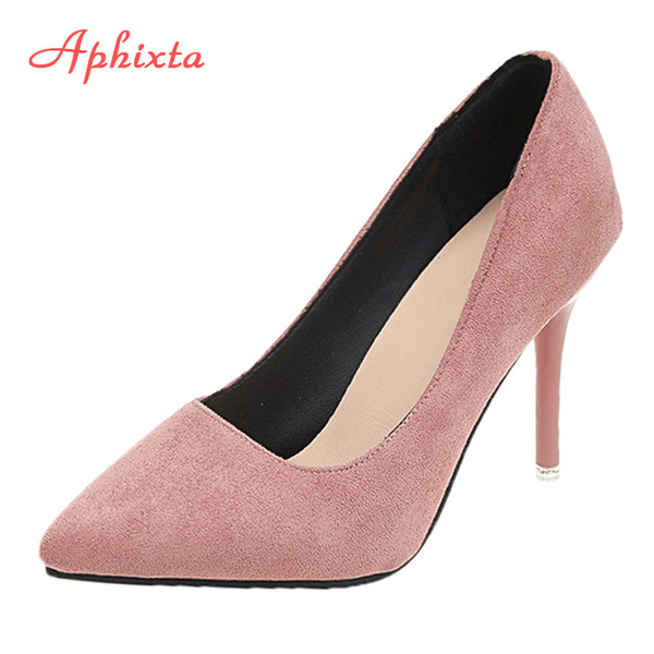 Designer Dress Shoes Aphixta Woman Super High Heels Pumps Nude 10cm Thin Heels Wedding Party Ladies US Large Size 48 Classic Pumps