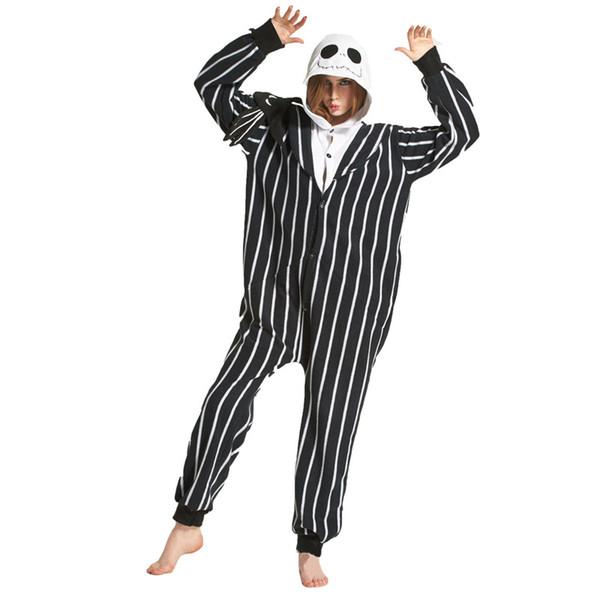 Polar Fleece Erwachsene Warme Pyjamas Set Jack Skellington Onesies Frauen Männer Halloween Cosplay Kostüm Cartoon Nachtwäsche
