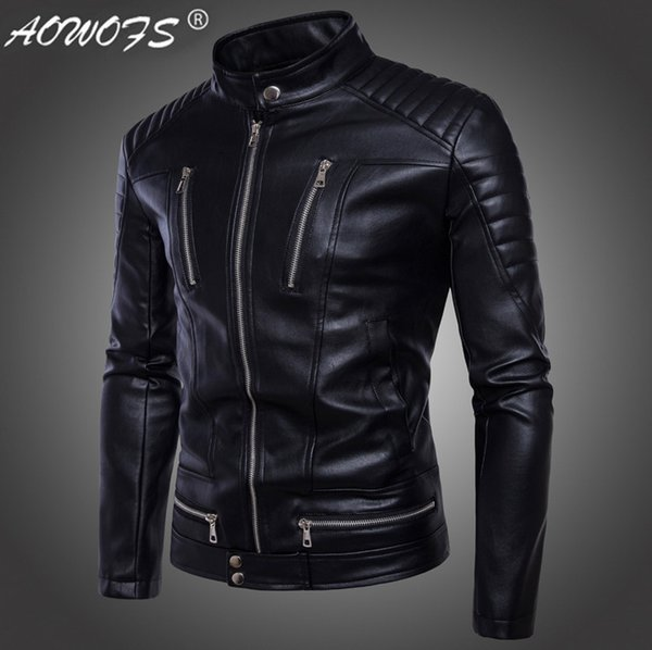 AOWOFS Newest British Motorcycle Leather Jacket Men Classic Design Multi-Zippers Biker Jackets Male Bomber Leather Jackets Coats D19010903