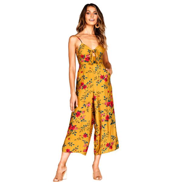 Jumpsuit boho print halter jumpsuit rompers womens salopette femme jumpsuits for women 2019 streetwear romper women