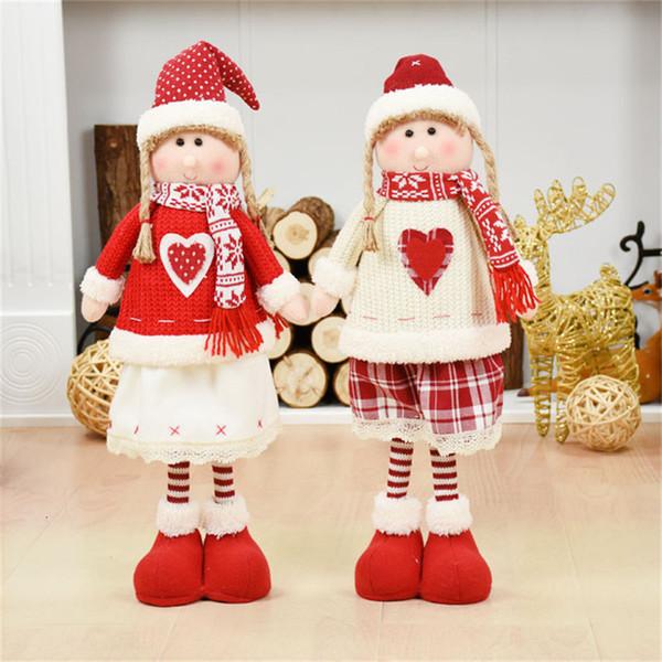 Red Clothes White Girl Angel Girl Standing Figures Decorações de Natal para o Natal Home Dolls Ano Novo Presentes de aniversário Y191104