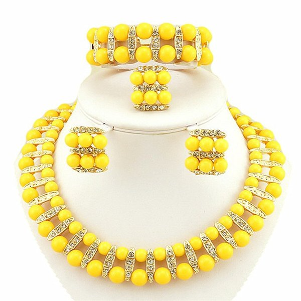 Charming Gold Orange Yellow Wine Jewelry 2 Pieces Sets Necklace Earrings Bridal Jewelry Bridal Accessories Wedding Jewelry T226343