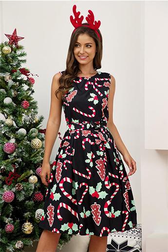 Invierno caliente venta de la mujer de Navidad vestido de la impresión sin mangas de cuello redondo de 5 estilos de vestido de fiesta de Navidad de una línea de Falda del tamaño S-3XL estilo básico