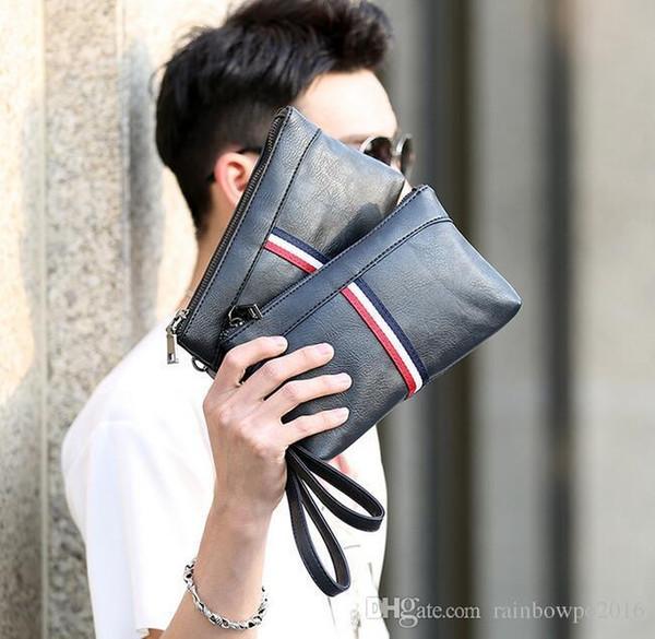 factory sales brand bag Korean fashion color leather men hand bag casual mens sportswear men's wallet hand bag