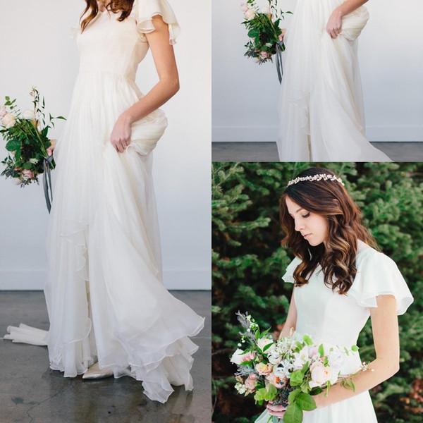 Flowy Chiffon Modest Brautkleider 2019 Strand Kurzen Ärmeln Perlen Gürtel Tempel Brautkleider Queen Anne Neck Informelles Empfangskleid