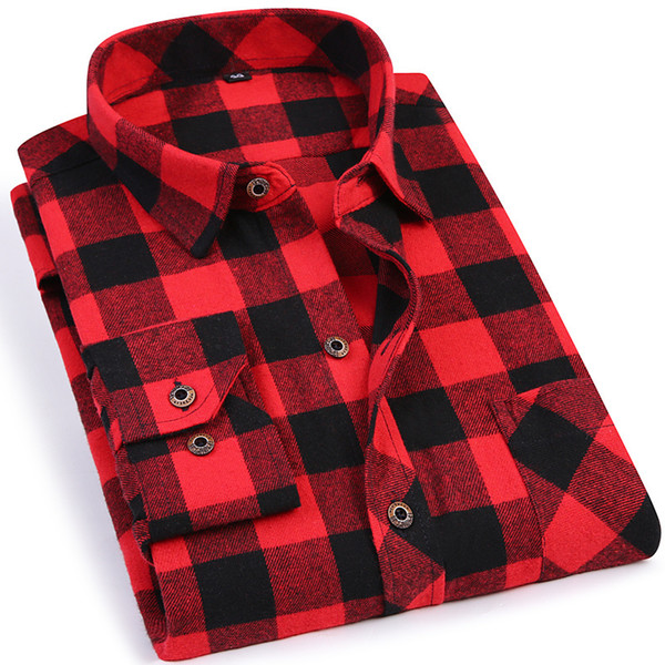 Black Red Plaid Men's Flannel Shirt Slim Fit Soft Comfortable Spring Male Shirt Brand Men's Casual Long-sleeved Shirts 4xl