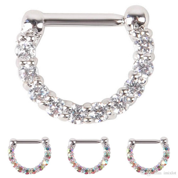 5Pcs/Lot 316L Surgical Steel Bar Full Crystal Nose Ring Clip Punk Goth False Hoop Septum Body Piercing Jewelry