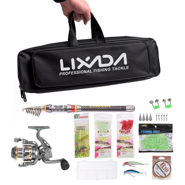 Lixada Angelrolle Combo Full Kit Spinning Angelrolle Gear Organizer Pol Set mit Schnur Lockt Haken