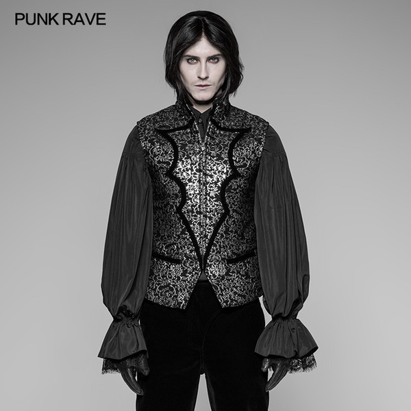 PUNK RAVE Men's Vest Gothic Steampunk Fashion Party Vintage Floral Stage Cosplay Jacket Waistcoat Gothic Clothing