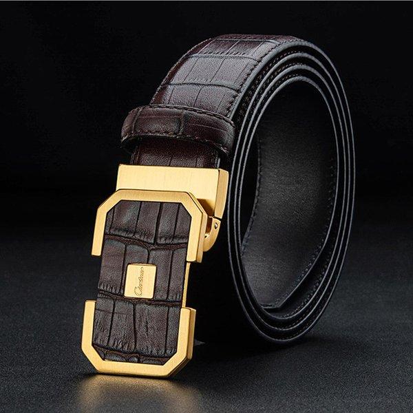 Cintura di marca di moda firmata di lusso 2018 per uomo in pelle genuina di buona qualità in pelle di vitello fibbia in ottone fibbia spedizione gratuita