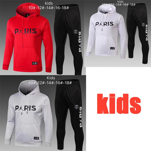Psg kids soccer tracksuit Paris training suit Mbappe Hoodie Long sleeve jersey and soccer pants Thailand top quality boy football tracksuit
