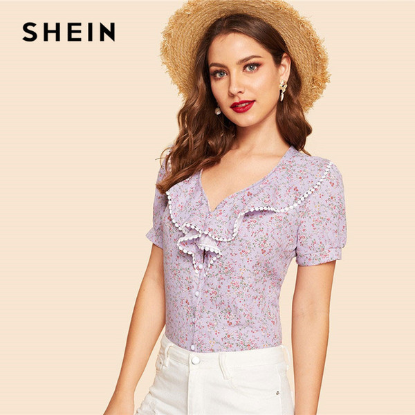 aec5319a02 SHEIN Lace Trim V Neck Botanical Floral Print Ruffle Women Tops And Blouses  Summer Casual Beach