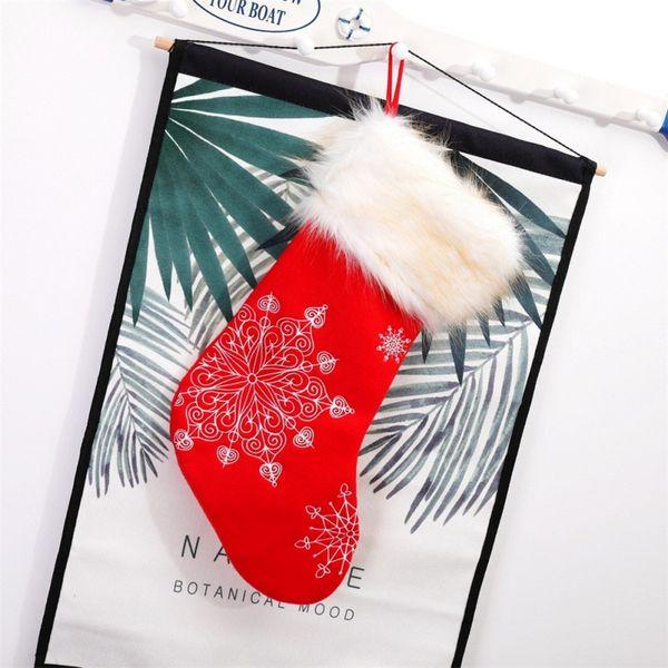 1Pc 20 Inch Christmas Stocking Candy Bag Sock Shape Snowflake Embroidered Plush Christmas Gift Velvet Plush Bag