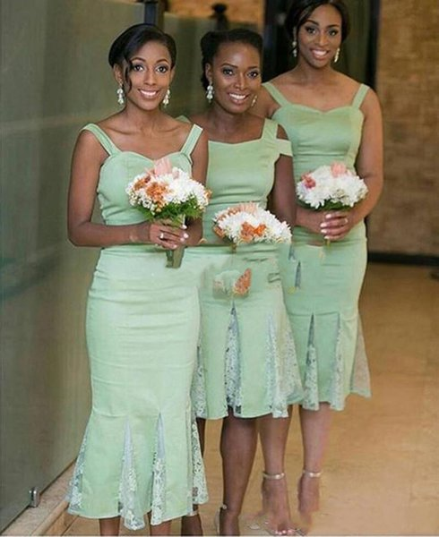 2019 Mint Green Spaghetti Mermaid Bridesmaid Dresses Knee Length Garden Country Beach Short Wedding Guest Gowns Maid Of Honor Dress