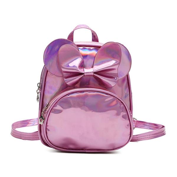 Çocuk lazer sevimli yay sırt çantası Çocuk Moda Katı Çanta Sırt Çantası Okul Omuz Çantaları Erkek Kız Sevimli Öğrenci Çocuklar hediye