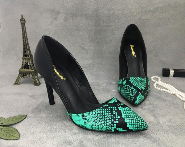 Free shipping 2019 Spring New Snake pattern Women pumps pointed toes office lady working shoes Leather Sexy High Heels Brown Green Blue 9cm