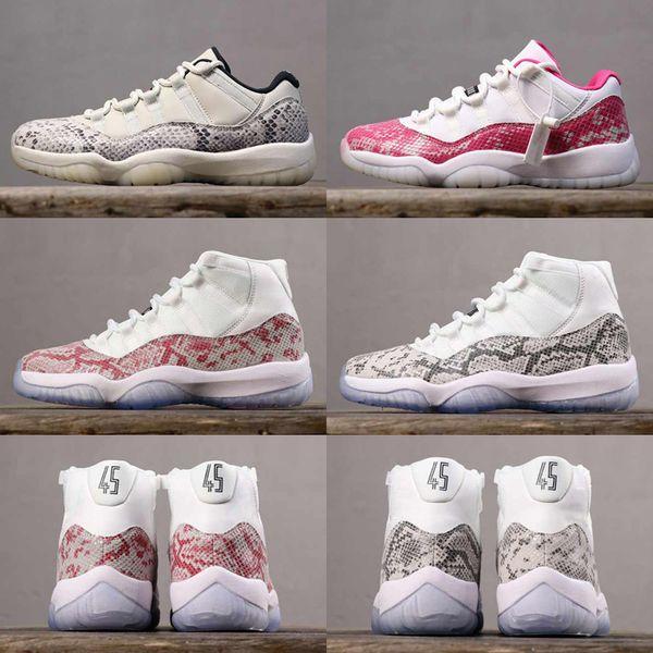 2019 Новый розовый Snakeskin Jumpman 11s 11 Баскетбольные кроссовки Мужские кроссовки Серый Snakeskin Low WMNS Light Bone спортивная обувь Ретро размер 36-47