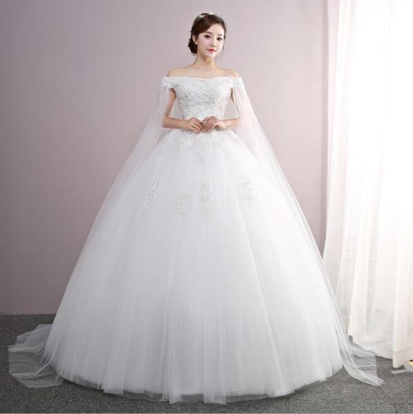 One-shoulder lace wedding dress Lace Tank Sleeveless Floral Print Ball Gown Wedding Dress 2018 New Fashion Simple estidos de noivas CC