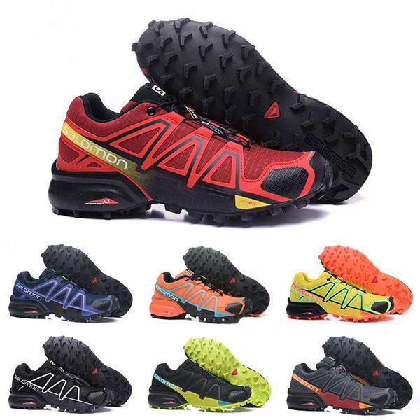 Acheter Speedcross 4 Chaussures De Course Pour Hommes Femmes Triple Rouge Noir Bleu Designer Speed Cross 4 Jogging Marche Randonnée Sport Baskets