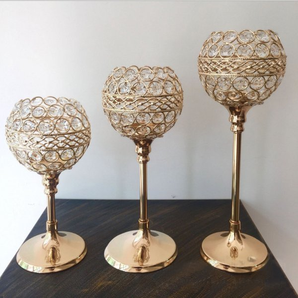10pcs/lot gold silver color crystal beaded ball candle holder candlestick candelabra table centerpieces event party table decpr
