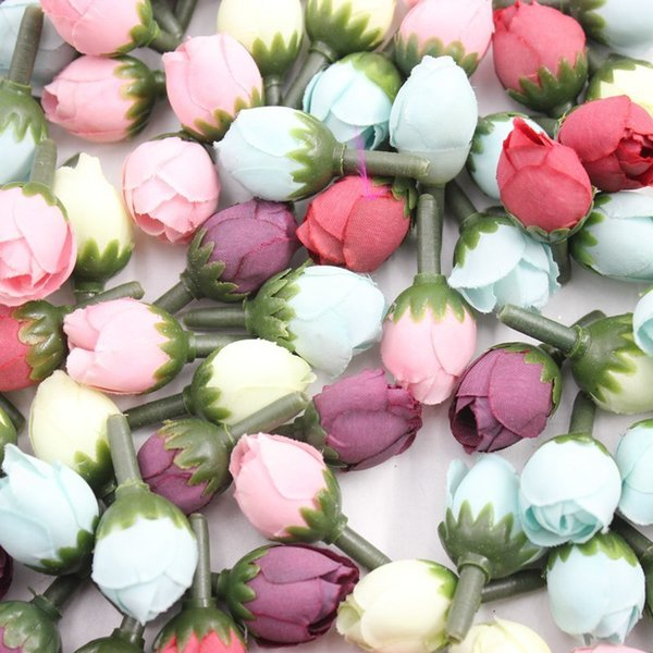 20pcs Mini Silk Rose Artificial Flower Head Wedding Decoration For Diy Handmake Scrapbooking Fake Bud Flowers