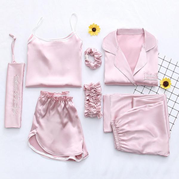 2019 Pigiami da donna 7 pezzi Set pigiama Autunno Primavera Pigiami sexy Set Abiti da notte Morbido Dolce Carino Pigiami Regalo Abiti per la casa