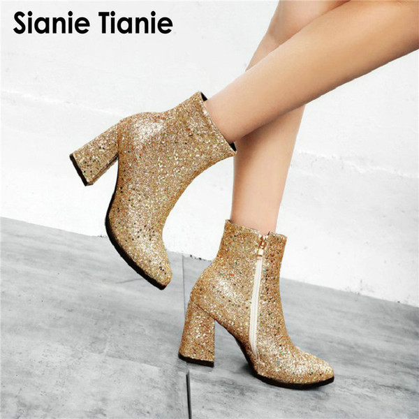 Sianie Tianie 2019 new glitter bling sequin woman ankle booots party wedding shoes silver green gold block high heels boots