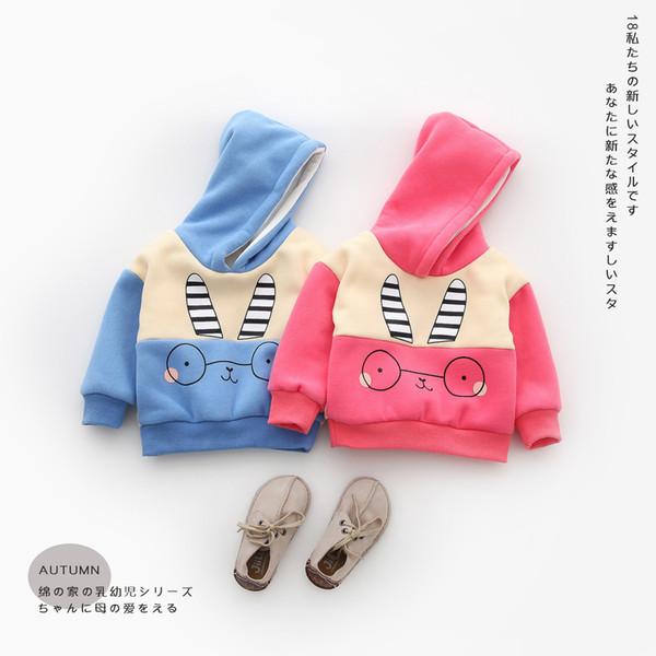 Autumn Winter Kids Children Baby Boy Girl Sweatshirt Clothing Cartoon Rabbit Hooded Coats T Shirt Tops Velvet Hoodies Outerwear