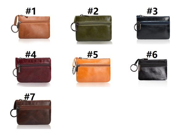 Leather Mini Coin Purse RTS card holder Retro European Double Zipper keychain Purse Short Personalized handbag