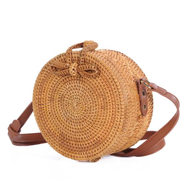 Designer-Vietnam rattan bag straight edge waist flower bag Messenger fashion beach shoulder strap adjustable 2 sizes