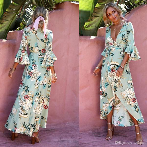 Compre Modelos De Explosión 2019 Profunda Impresión De Moda V Vestido Sexy Dividida Corbata De Encaje Vestido Largo De Las Mujeres Bohemio Trompeta