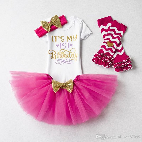 Ins Baby girl clothing Infant Birthday Outfits 1st 2nd Birthday party clothes Letters Romper+tutu skirt+Sequins headband+leg warmer 4pcs/set