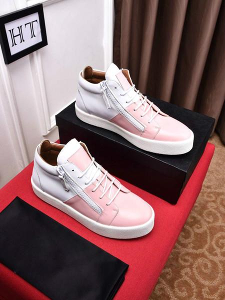Hot Sales Fashion Brand Shoes Men Women Casual Low Top Black Leather Sports Shoes Double Zipper Flat Men Sneakers Iron Sheets Shoes 429830