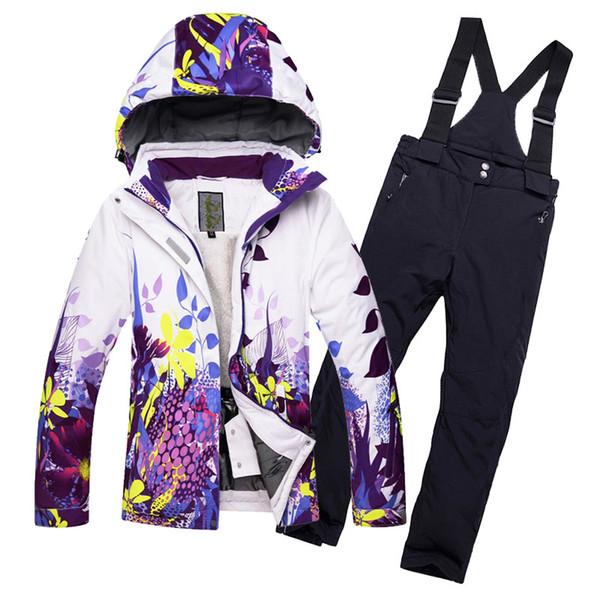2018 New Freie Kinder-Skianzug Winter-8-14 Jahre Junge Mädchen Wasserdicht Warm Einzel Doppel Bretter Fleece Skijacke Hosen T190920