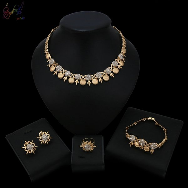 Yulaili Snow Earrings and Ring 2019 New Year Design Necklace Bracelet Alloy Gold Color Jewelry Set For Women