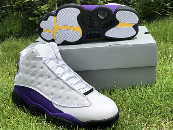 Authentic 2019 13 Lakers Rivals White Court Nero Purple University Gold Men Scarpe da basket 414571-105 Real Sport in fibra di carbonio Scarpe 7-13