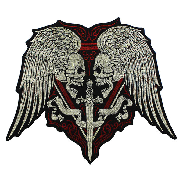 Large Embroidery Skull Wings Sword Patches Iron on Motorcycle Biker Badge Vest Jacket Back Applique 1piece