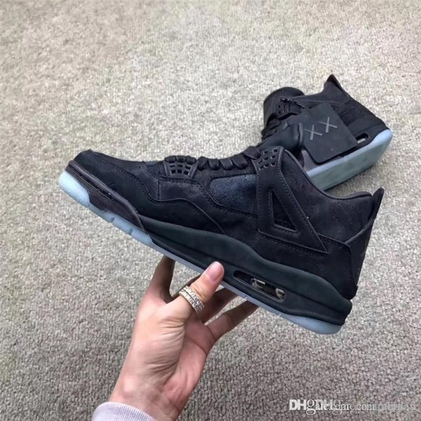 a03deed62ebc98 2018 Limited 4 XX Kaws Cool Grey 4S IV BlacK Basketball Shoes For Men suede  Authentic