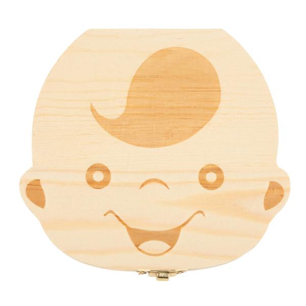Yeni Bebek Süt Diş Kutusu İspanyolca / İngilizce Bebek Ahşap Diş Kutusu Bebek Diş Organizatör Çocuklar için Yaprak Döken Saklama Kutusu He ...