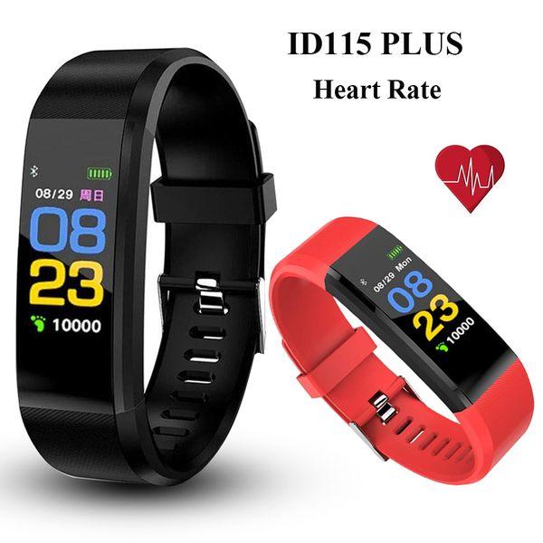 ID115 Plus Pulsera inteligente Rastreador de ejercicios Ritmo cardíaco Reloj deportivo Presión arterial real Banda inteligente PK DZ09 Y7 ID116 PLUS con caja