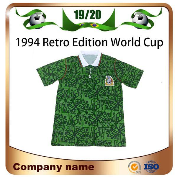 1994 Mexique Coupe du Monde Édition Rétro Soccer Maillot Accueil vert équipe de Football Maillot à Manches courtes Uniforme de Football