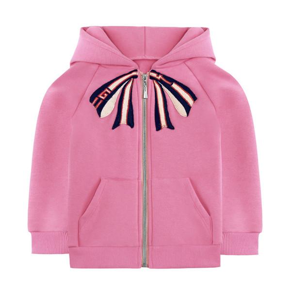 Çocuklar Kızlar Coat 2-7Y Bebek Kız Kapüşonlu Ceketler 2019 Sonbahar Kış Bebek Prenses Pembe Fermuar Mont Çocuk Dış Giyim Giyim S267
