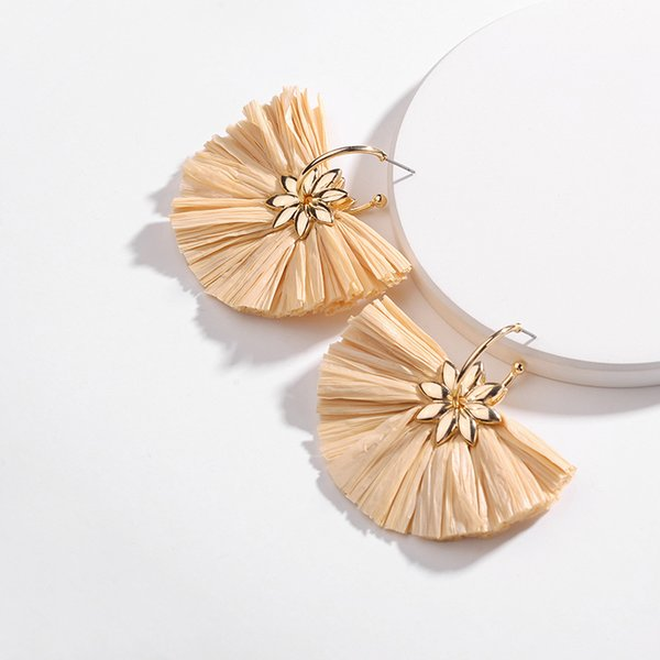 earrings alloy lafite grass flower exaggerated fan big ear hook for women stud earrings source wish of foreign trade