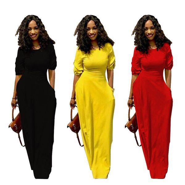 Mulheres maxi dress saias longas de verão com bolso casual sexy vestido de festa 1/2 de manga comprida do assoalho-comprimento saias streetwear senhora roupas preto amarelo